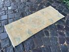 %100 WOOL HANDMADE TURKISH SMALL RUG, VINTAGE FROM 1960s, CARPET   1,1 x 2,8 ft