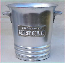 French G GOULET Aluminum Champagne Ice Bucket Cooler Enameled Label REIMS France