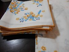 VINTAGE NEW NEVER USED LARGE TABLECLOTH & 12 NAPKINS YELLOW BLUE LOVELY FLOWERS
