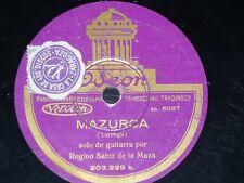 GUITAR 78 rpm RECORD Odeon REGINO SAINZ DE LA MAZA Mazurca TARREGA El Vito SPAIN
