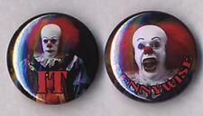 IT CLOWN PENNYWISE Pair of Badge Button Pins - CREEPY!