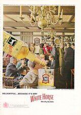 1963 White Horse Scotch Whisky Tavern Scene PRINT AD