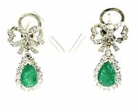 Vintage 14k White Gold, Emerald, And Diamond Drop Earrings