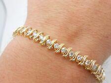 Gorgeous & Heavy 14k Solid Yellow Gold  1.50+ Carat  Diamond Tennis Bracelet