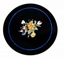 "36"" Black Marble Coffee Table Top Handmade Floral Pietra Dura Home Decor Gifts"