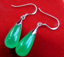 New A Pair Teardrop Green Jade 925 Silver Dangle Hook Earrings