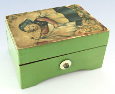 Vintage LADOR Swiss Wind-Up Music Box - Small Painted Wood Case