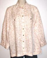 Charter Club Woman Roll-Tab Sleeve Print Button-Down Shirt Plus Size 2X