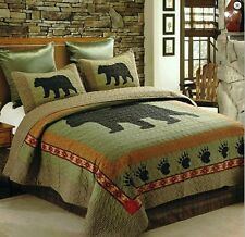 BLACK BEAR PAW Full Queen QUILT SET : LODGE CABIN COUNTRY MOUNTAIN SOUTHWESTERN