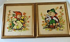 Completed Framed Hummel Crewel Embroidery Chick Girl AND Playmates #2581