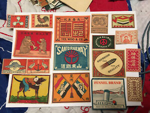 Lot # 44 China and/ or Japan Matchbox Mostly Packet Labels about 100 Years Old