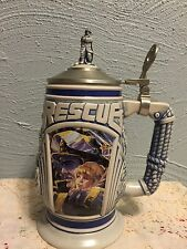 Tribute to Rescue Workers Lidded Beer Stein 1997 Brazil Made Avon 9/11 911