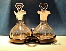Cambridge Glass 3 Piece Set Clear Cruets Black Tray Oil Vinegar Perfume Oils Spa