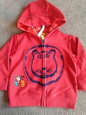 BNWT M&S Red Orange Lion Hoody Hoodie Zip Up Jumper  12-18 Months