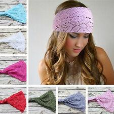Femmes Yoga tête Wrap doux large bande de cheveux dentelle bandeau élastique Wra