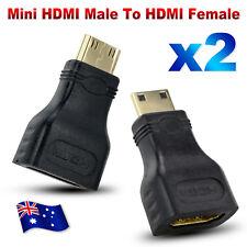 2x Mini HDMI Male to HDMI Female Plug Adapter Converter Connector HDTV Monitor