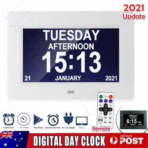 "7""Digital Day Clock LED Calendar Dementia Alarm Time Date Month Year Memory NEWS"
