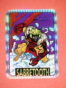1992 X-MEN SERIES 1 SABRETOOTH #52 VENDING MACHINE PRISM STICKER RARE! WOLVERINE
