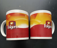 2 VINTAGE FOLGERS MOUNTAIN GROWN COFFEE CUPS MUGS.  L