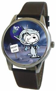 Snoopy The First Beagle On The Moon Large Unisex Watch With Black Leather Strap