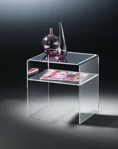 Beistelltisch YORK Couchtisch Transparent mit Ablagefach aus Acrylglas