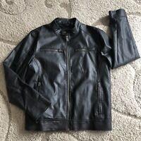 Guess Men's Black Faux Leather Jacket Size M Full Zip Coat