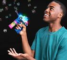 Light Up LED Police Car Bubble Gun with 2 Bottles of Bubbles and Batteries