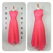 VINTAGE 60s 70s HOT PINK FLARED MAXI DRESS GOWN. UK S. RETRO OCCASION CHIC GLAM