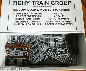 Tichy Train Group N Scale #2540 Window, Door & Part Assortment 164 pcs (Plastic)