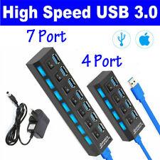 4/7 Port USB 3.0 Hub Powered On/Off Switch AC Power Adapter Splitter High Speed