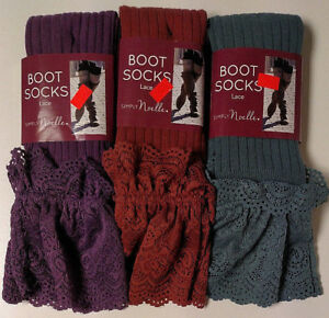 Simply Noelle Women's Lace Top Boot Socks Solid Tall Knee High - New!