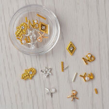 1Box 3D Nail Art Decoration Gold Silver Star Starfish Palm UV Gel Studs Crafts