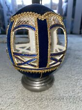 Ostrich Egg Carved And Covered With Sequins, Blue  Velvet And Gold Lace Netting