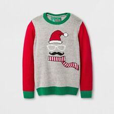 Boys' Holiday Moustache Face Ice Gray Christmas Pullover Sweater, Size 6/7