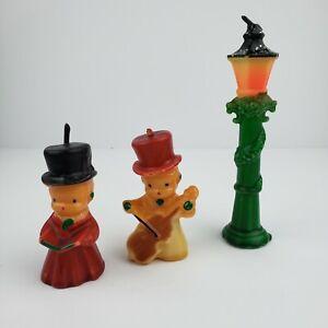 Lot of 3 Vintage Christmas Candles Choir Boy Violin Player Streetlamp Christmas
