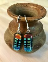 Handcrafted Fused Glass COLORFUL Earrings FREE SHIPPING