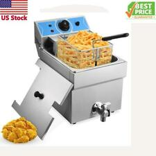 New Electric Deep Fryer Tank Stainless Steel 1 Fry Basket Commercial Kitchen Hot
