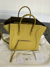 New With Tag Celine Suede Yellow Medium Phantom Luggage Tote