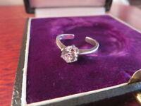 Hübscher 925 Silber Ring Zirkonia Wie Diamant Größenverstellbar Variabel Retro
