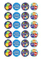 Pre Cut Happy Birthday Dad Cupcake Edible Wafer Paper Toppers x 24