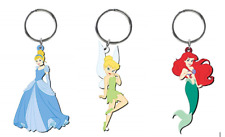 Lot of 3 Disney Princess Soft Touch Key Chains Arial, Tinkerbell, Cinderella NEW