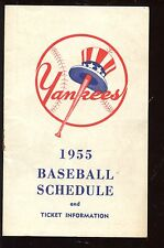 1955 New York Yankees Ballantine Baseball Schedule EX+