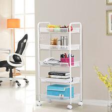 Shelving Rack 5 Tier Shelf Shelves Rolling Kitchen Pantry Storage Utility Cart