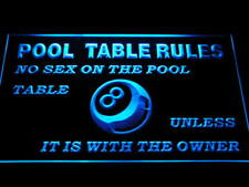 s234-b Pool Table Rules No Sex unless with the Owner Eight 8 Ball Room Neon Sign