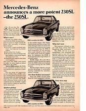 1967 MERCEDES-BENZ 250SL  ~   CLASSIC ORIGINAL PRINT AD
