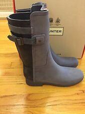 Hunter Original Refined Back Strap Wellington Rain Boots Blue New in Box Size 10