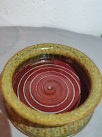 Hand thrown art pottery brie baker red