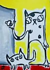 """ACEO Original """"Let Cat Out"""" Acrylic 2.5 x 3.5 Painting Samantha McLean"""