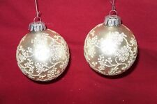 """Set of 2 White with White & Silver Stenciled Glass Christmas Ornaments """"Nice"""""""