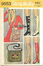 Vintage 1971 Simplicity Sewing Pattern # 9553 Boho Spats And Two Bags: One Size